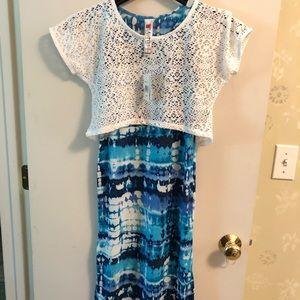 Beautees 2pcs Blue Tie Dye Dress NWT